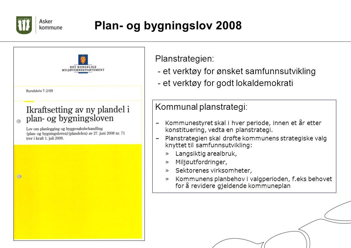 Plan- og bygningslov 2008 –Kommunestyret skal i hver periode, innen et år etter konstituering, vedta en planstrategi. –Planstrategien skal drøfte komm