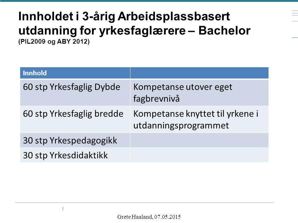 Innholdet i 3-årig Arbeidsplassbasert utdanning for yrkesfaglærere – Bachelor (PIL2009 og ABY 2012) Innhold 60 stp Yrkesfaglig DybdeKompetanse utover