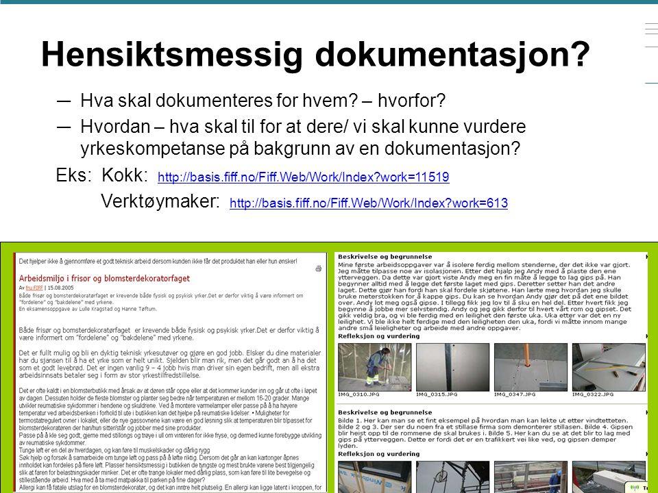 7.mai 2015. Grete Haaland Hensiktsmessig dokumentasjon? — Hva skal dokumenteres for hvem? – hvorfor? — Hvordan – hva skal til for at dere/ vi skal kun