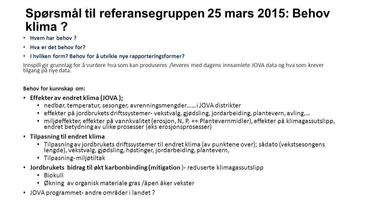 Spørsmål til referansegruppen 25 mars 2015: Behov klima .