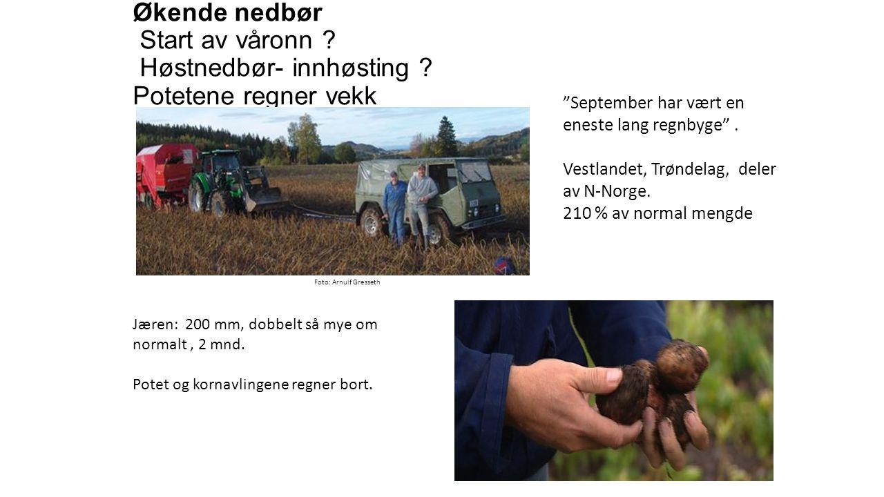 Økende nedbør Start av våronn . Høstnedbør- innhøsting .