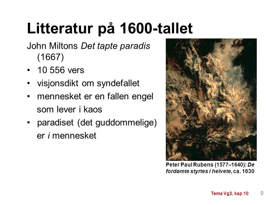John Miltons Det tapte paradis (1667) 10 556 vers visjonsdikt om syndefallet mennesket er en fallen engel som lever i kaos paradiset (det guddommelige
