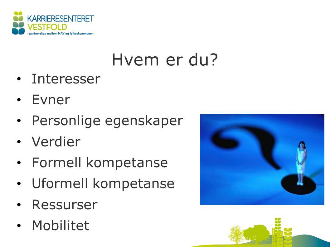 Hvem er du? Interesser Evner Personlige egenskaper Verdier Formell kompetanse Uformell kompetanse Ressurser Mobilitet
