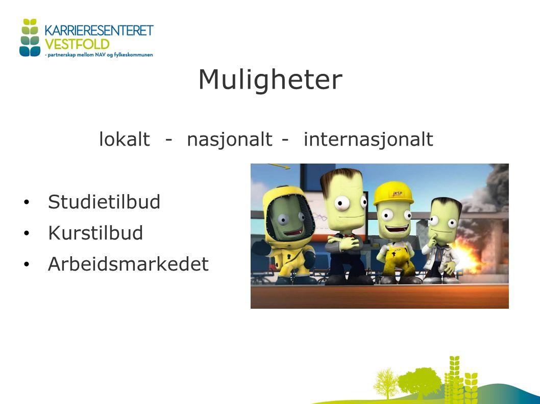Muligheter lokalt - nasjonalt - internasjonalt Studietilbud Kurstilbud Arbeidsmarkedet