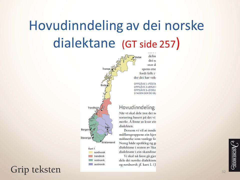 Hovudinndeling av dei norske dialektane (GT side 257 ) 32