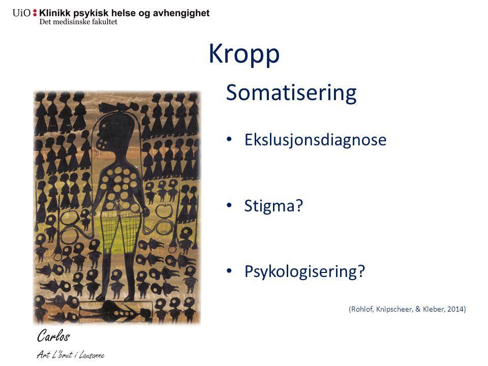 Kropp Somatisering Ekslusjonsdiagnose Stigma? Psykologisering? (Rohlof, Knipscheer, & Kleber, 2014) Carlos Art L'brut i Lausanne