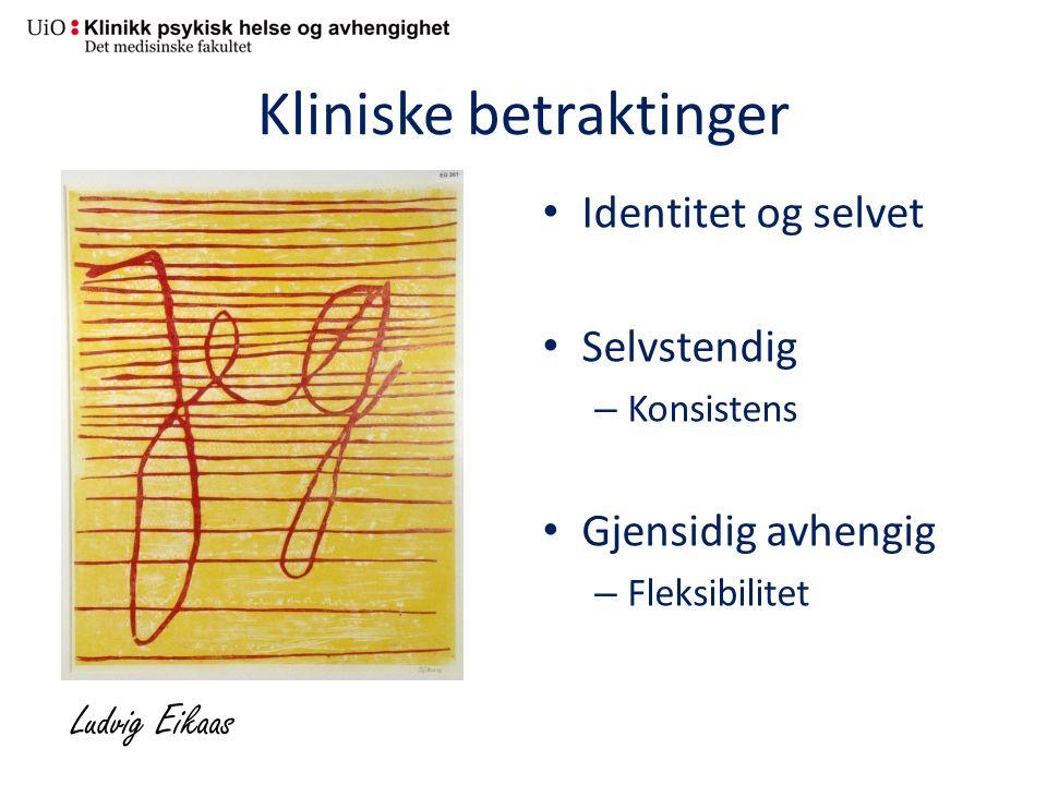 Kliniske betraktinger Identitet og selvet Selvstendig – Konsistens Gjensidig avhengig – Fleksibilitet Ludvig Eikaas