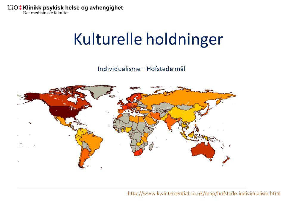 Kulturelle holdninger Individualisme – Hofstede mål http://www.kwintessential.co.uk/map/hofstede-individualism.html