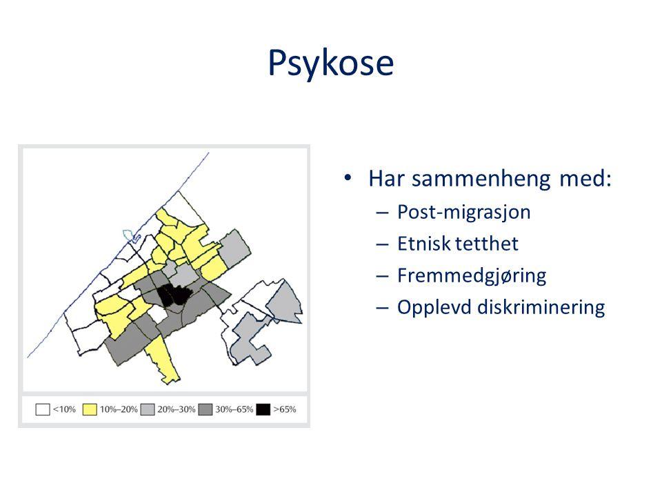 Psykose Har sammenheng med: – Post-migrasjon – Etnisk tetthet – Fremmedgjøring – Opplevd diskriminering