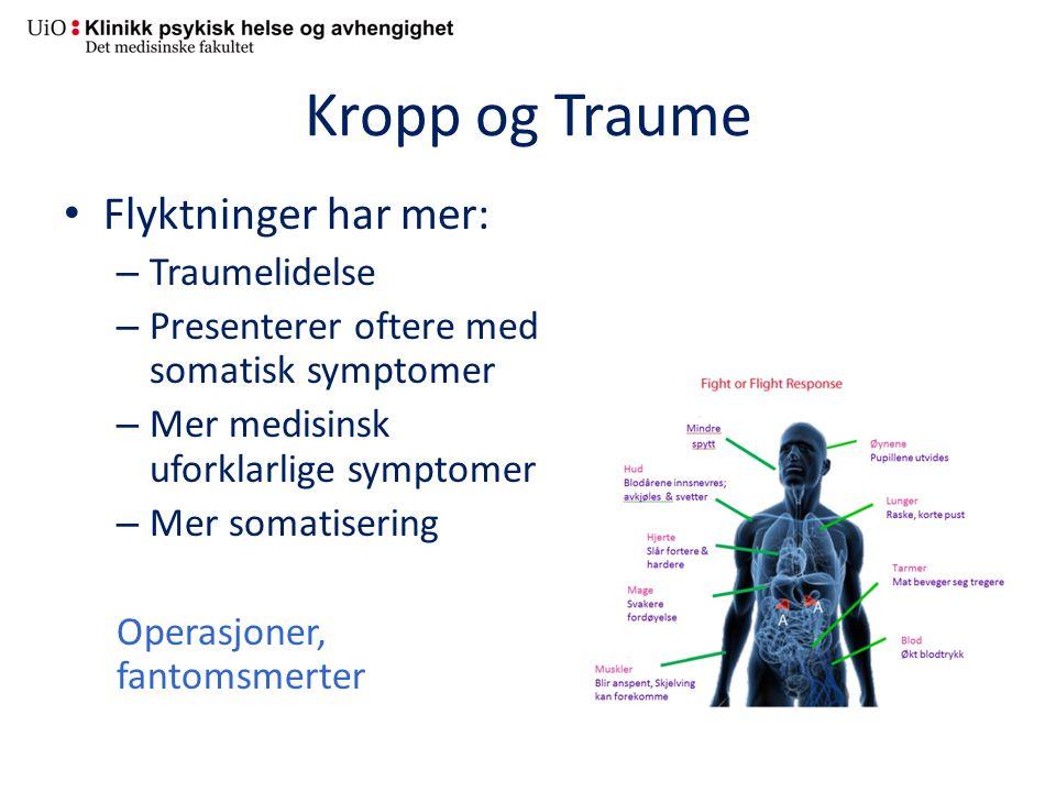 Kropp og Traume Flyktninger har mer: – Traumelidelse – Presenterer oftere med somatisk symptomer – Mer medisinsk uforklarlige symptomer – Mer somatisering Operasjoner, fantomsmerter