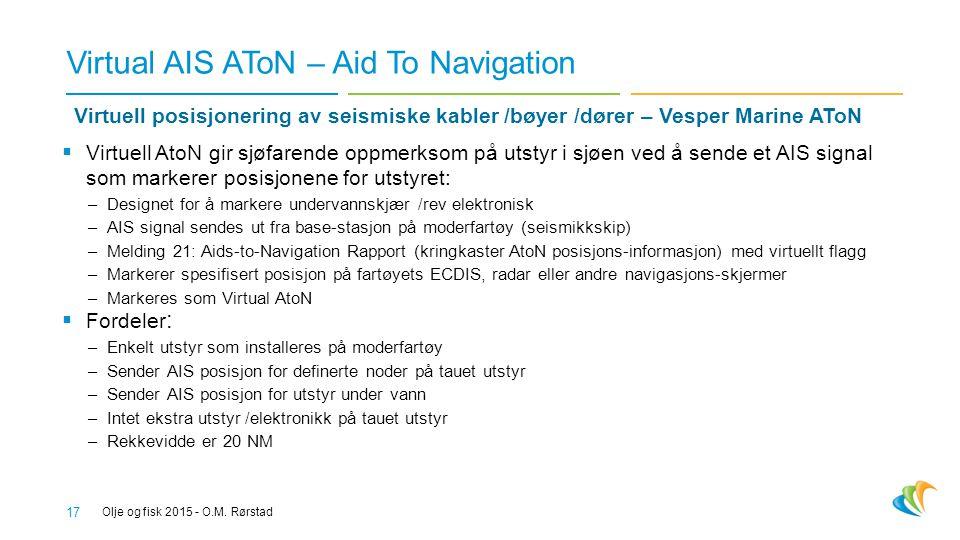 Virtual AIS AToN – Aid To Navigation 17  Virtuell AtoN gir sjøfarende oppmerksom på utstyr i sjøen ved å sende et AIS signal som markerer posisjonene for utstyret: –Designet for å markere undervannskjær /rev elektronisk –AIS signal sendes ut fra base-stasjon på moderfartøy (seismikkskip) –Melding 21: Aids-to-Navigation Rapport (kringkaster AtoN posisjons-informasjon) med virtuellt flagg –Markerer spesifisert posisjon på fartøyets ECDIS, radar eller andre navigasjons-skjermer –Markeres som Virtual AtoN  Fordeler : –Enkelt utstyr som installeres på moderfartøy –Sender AIS posisjon for definerte noder på tauet utstyr –Sender AIS posisjon for utstyr under vann –Intet ekstra utstyr /elektronikk på tauet utstyr –Rekkevidde er 20 NM Olje og fisk 2015 - O.M.