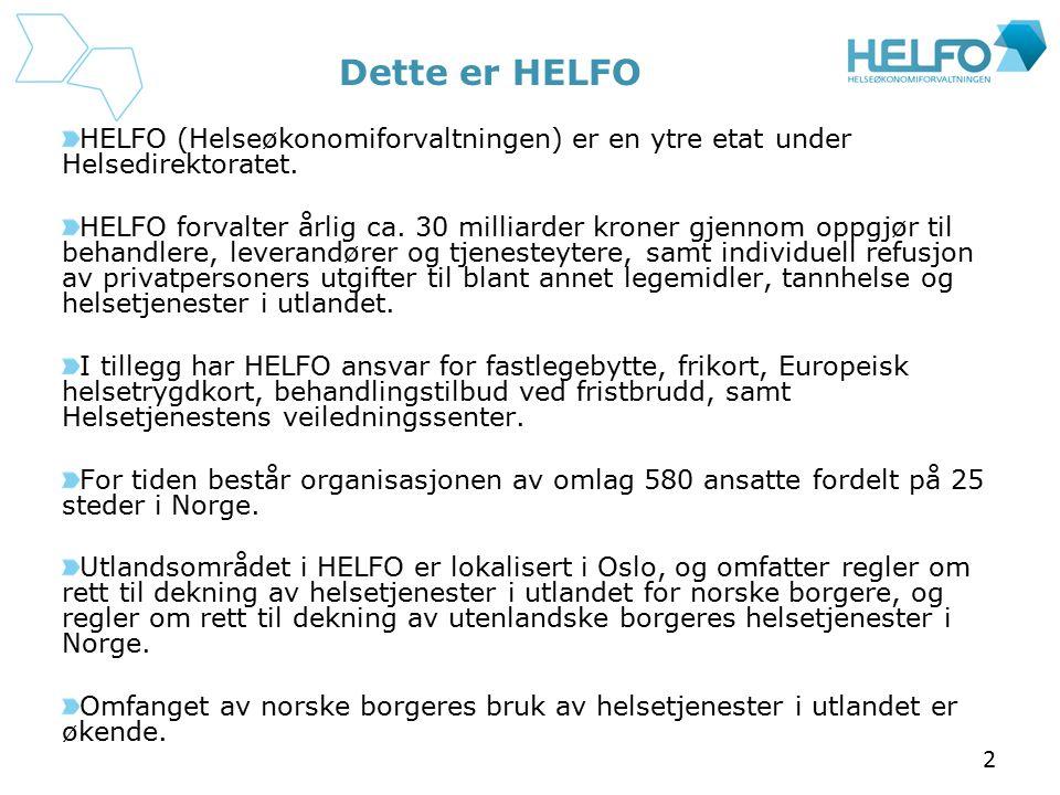 2 Dette er HELFO HELFO (Helseøkonomiforvaltningen) er en ytre etat under Helsedirektoratet. HELFO forvalter årlig ca. 30 milliarder kroner gjennom opp
