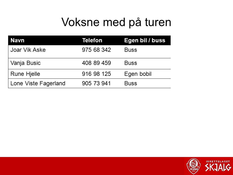 Voksne med på turen NavnTelefonEgen bil / buss Joar Vik Aske975 68 342Buss Vanja Busic408 89 459Buss Rune Hjelle916 98 125Egen bobil Lone Viste Fagerland905 73 941Buss