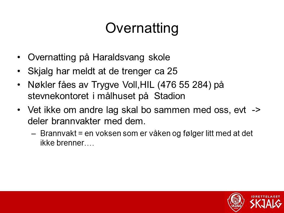 Overnatting Overnatting på Haraldsvang skole Skjalg har meldt at de trenger ca 25 Nøkler fåes av Trygve Voll,HIL (476 55 284) på stevnekontoret i målhuset på Stadion Vet ikke om andre lag skal bo sammen med oss, evt -> deler brannvakter med dem.