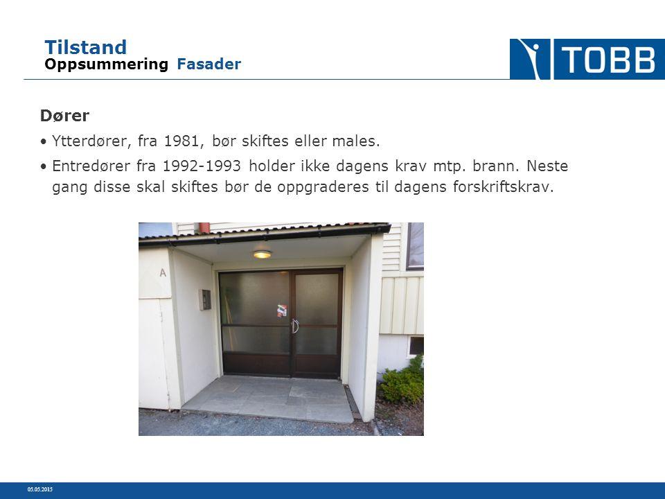 Tilstand Oppsummering Fasader Dører Ytterdører, fra 1981, bør skiftes eller males. Entredører fra 1992-1993 holder ikke dagens krav mtp. brann. Neste