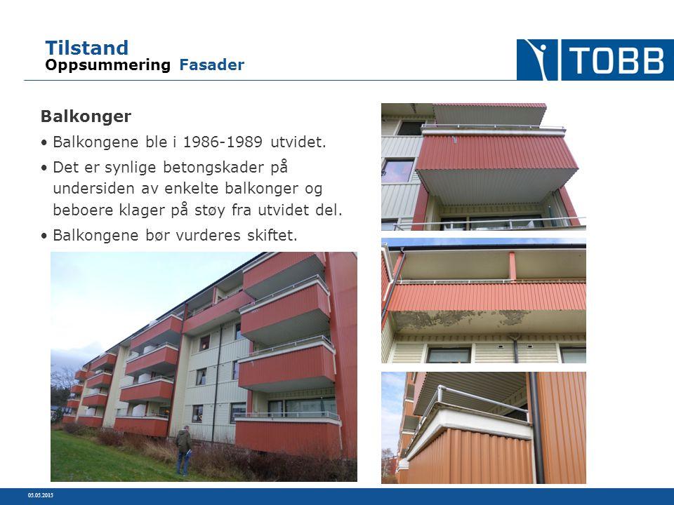 Tilstand Oppsummering Fasader Balkonger Balkongene ble i 1986-1989 utvidet.