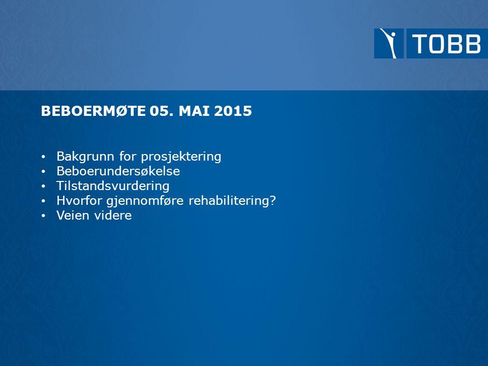 Bakgrunn for prosjektering Beboerundersøkelse Tilstandsvurdering Hvorfor gjennomføre rehabilitering? Veien videre BEBOERMØTE 05. MAI 2015