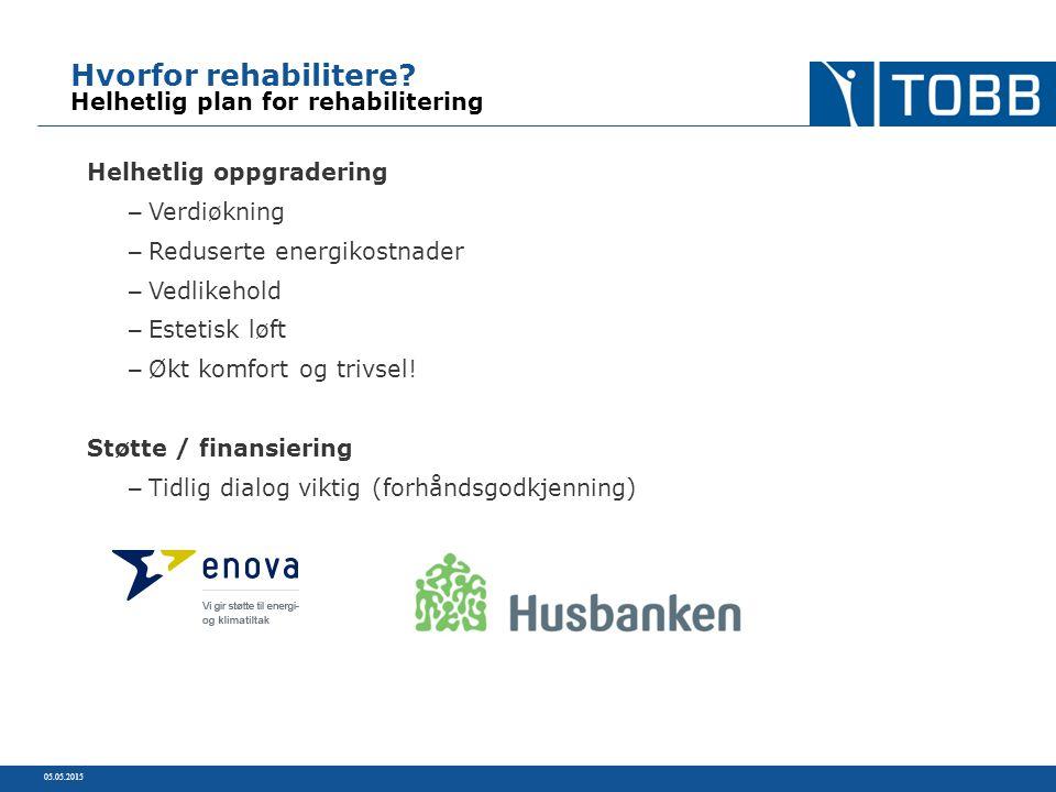 Hvorfor rehabilitere? Helhetlig plan for rehabilitering Helhetlig oppgradering – Verdiøkning – Reduserte energikostnader – Vedlikehold – Estetisk løft