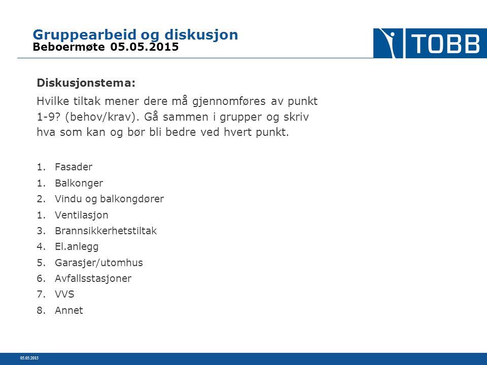 Gruppearbeid og diskusjon Beboermøte 05.05.2015 Diskusjonstema: Hvilke tiltak mener dere må gjennomføres av punkt 1-9.