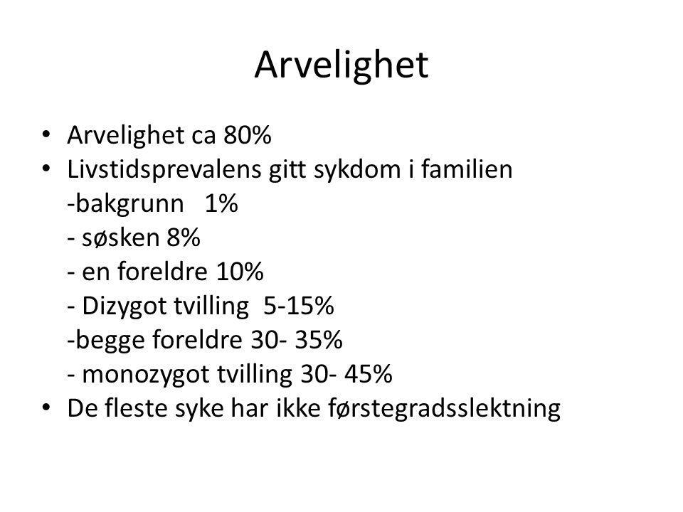 Arvelighet Arvelighet ca 80% Livstidsprevalens gitt sykdom i familien -bakgrunn 1% - søsken 8% - en foreldre 10% - Dizygot tvilling 5-15% -begge forel