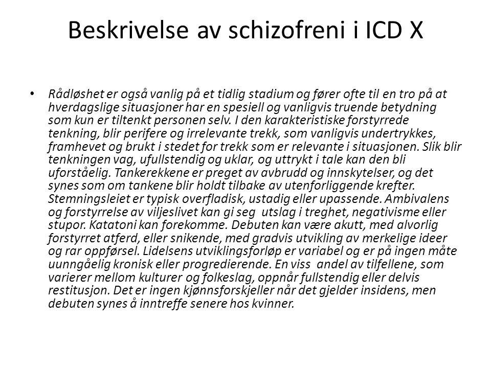 Beskrivelse av schizofreni i ICD X Rådløshet er også vanlig på et tidlig stadium og fører ofte til en tro på at hverdagslige situasjoner har en spesie