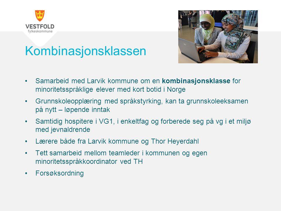 Samarbeid med Larvik kommune om en kombinasjonsklasse for minoritetsspråklige elever med kort botid i Norge Grunnskoleopplæring med språkstyrking, kan