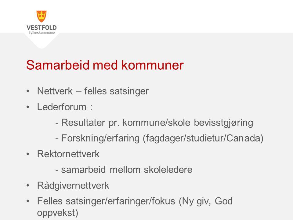 Nettverk – felles satsinger Lederforum : - Resultater pr. kommune/skole bevisstgjøring - Forskning/erfaring (fagdager/studietur/Canada) Rektornettverk