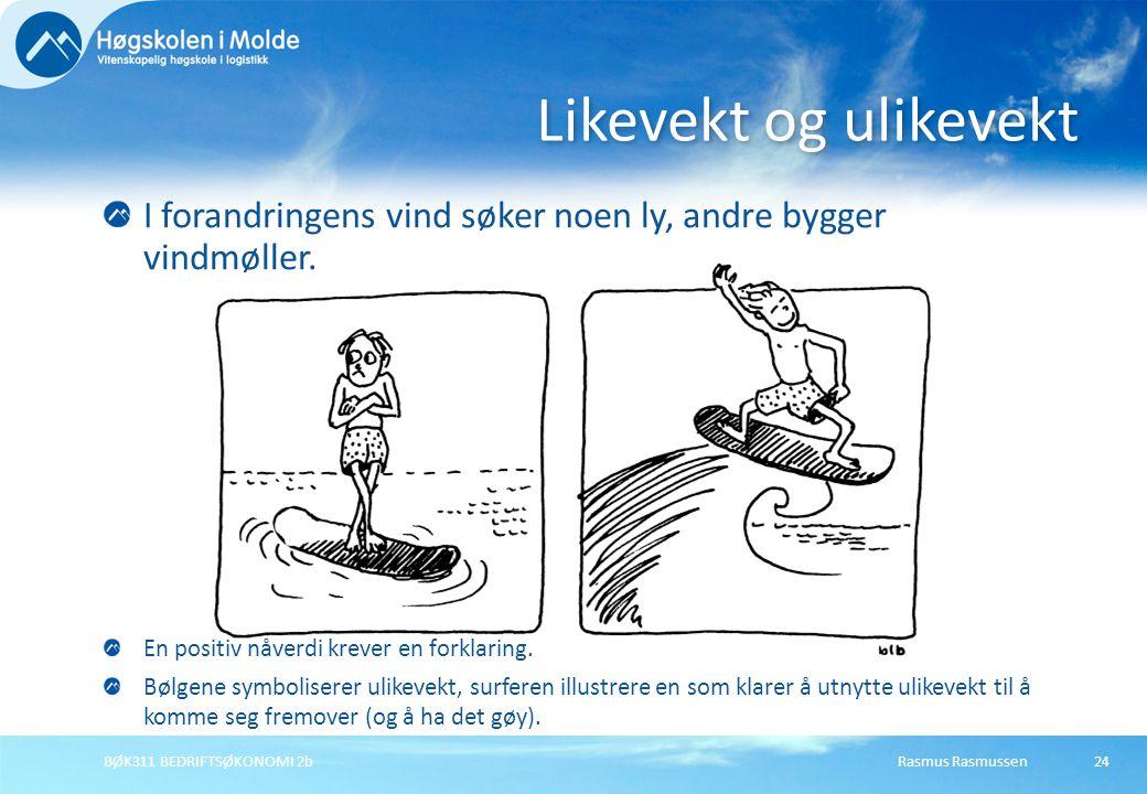 Rasmus RasmussenBØK311 BEDRIFTSØKONOMI 2b24 Likevekt og ulikevekt I forandringens vind søker noen ly, andre bygger vindmøller. En positiv nåverdi krev