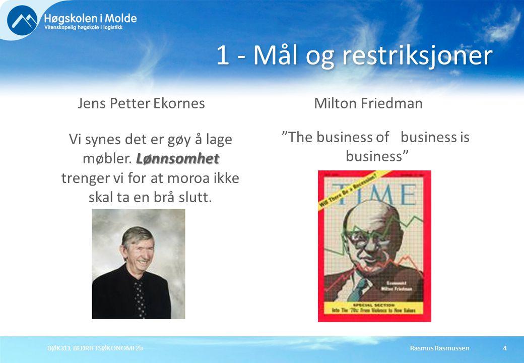 Rasmus RasmussenBØK311 BEDRIFTSØKONOMI 2b4 1 - Mål og restriksjoner Jens Petter EkornesMilton Friedman Lønnsomhet Vi synes det er gøy å lage møbler. L