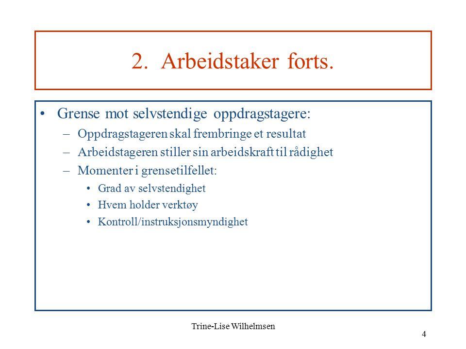 Trine-Lise Wilhelmsen 4 2. Arbeidstaker forts.