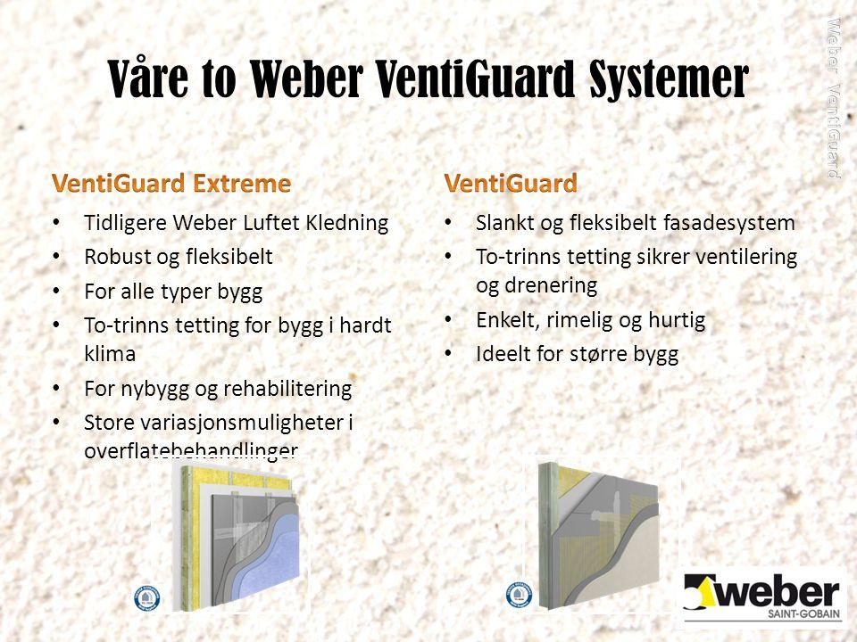Våre to Weber VentiGuard Systemer Tidligere Weber Luftet Kledning Robust og fleksibelt For alle typer bygg To-trinns tetting for bygg i hardt klima Fo