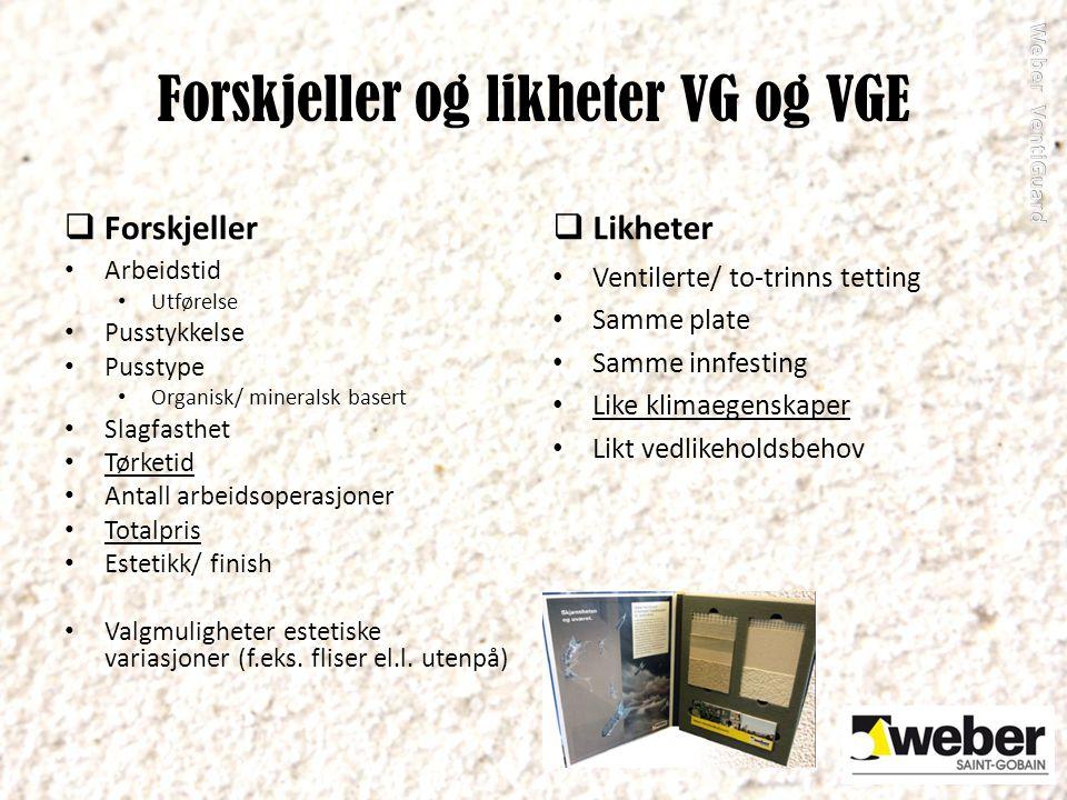 Forskjeller og likheter VG og VGE  Forskjeller Arbeidstid Utførelse Pusstykkelse Pusstype Organisk/ mineralsk basert Slagfasthet Tørketid Antall arbe