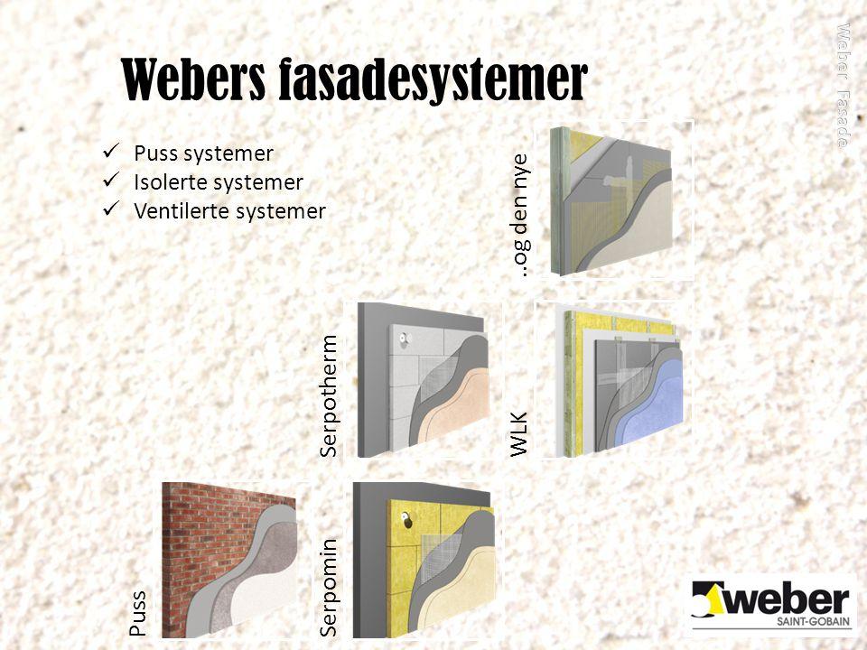 Webers fasadesystemer PussSerpominSerpothermWLK..og den nye Puss systemer Isolerte systemer Ventilerte systemer