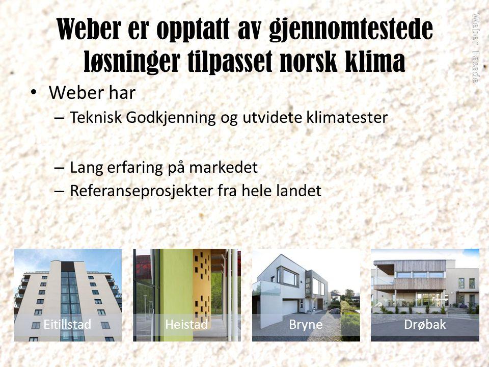 Weber er opptatt av gjennomtestede løsninger tilpasset norsk klima Weber har – Teknisk Godkjenning og utvidete klimatester – Lang erfaring på markedet – Referanseprosjekter fra hele landet EitillstadHeistadBryneDrøbak