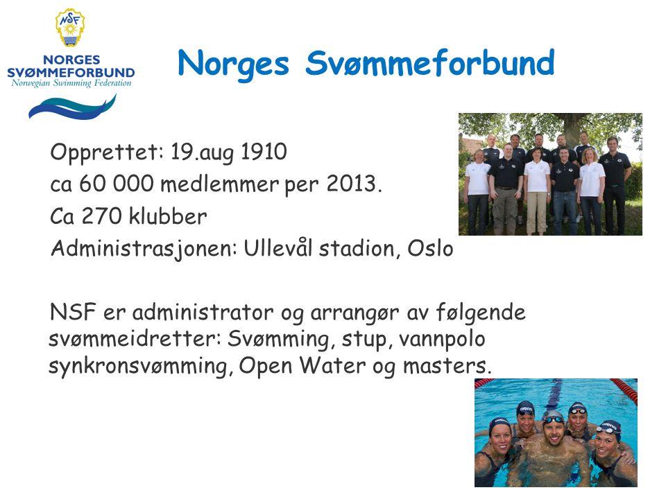Norges Svømmeforbund Opprettet: 19.aug 1910 ca 60 000 medlemmer per 2013.