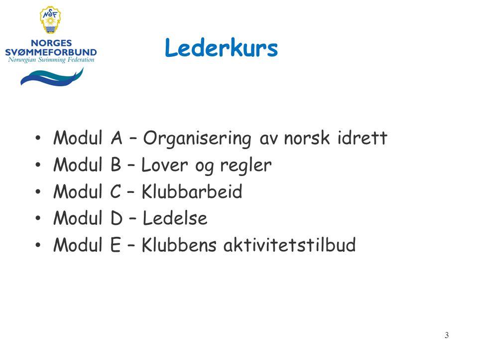 Lederkurs Modul A – Organisering av norsk idrett Modul B – Lover og regler Modul C – Klubbarbeid Modul D – Ledelse Modul E – Klubbens aktivitetstilbud 3