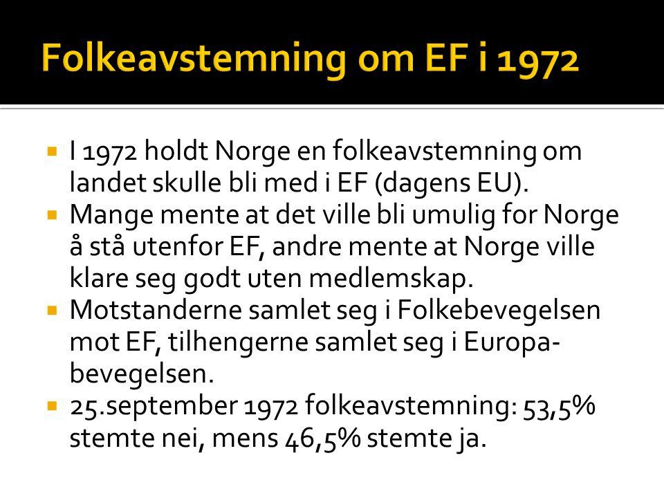  I 1972 holdt Norge en folkeavstemning om landet skulle bli med i EF (dagens EU).  Mange mente at det ville bli umulig for Norge å stå utenfor EF, a