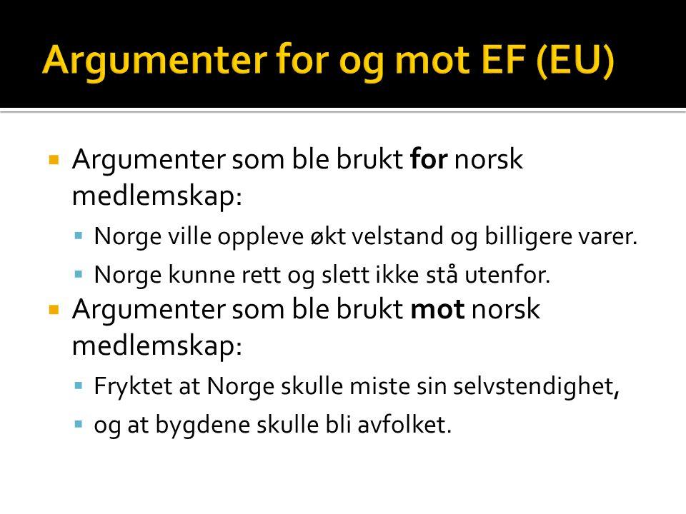  Argumenter som ble brukt for norsk medlemskap:  Norge ville oppleve økt velstand og billigere varer.  Norge kunne rett og slett ikke stå utenfor.