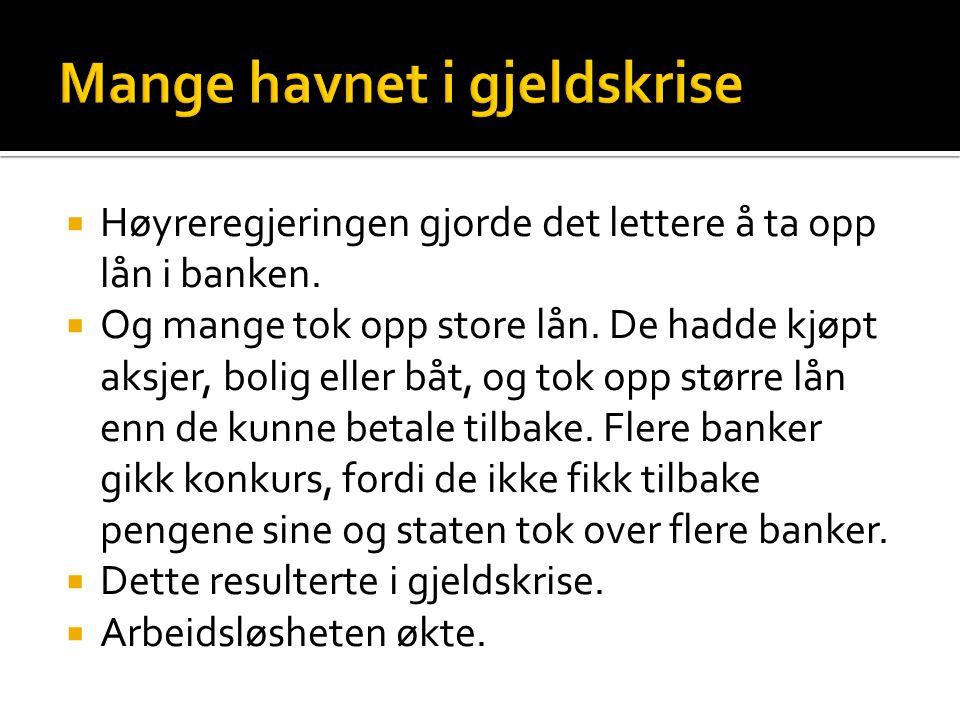  Høyreregjeringen gjorde det lettere å ta opp lån i banken.  Og mange tok opp store lån. De hadde kjøpt aksjer, bolig eller båt, og tok opp større l