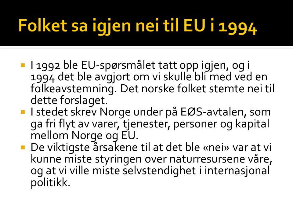  I 1992 ble EU-spørsmålet tatt opp igjen, og i 1994 det ble avgjort om vi skulle bli med ved en folkeavstemning. Det norske folket stemte nei til det