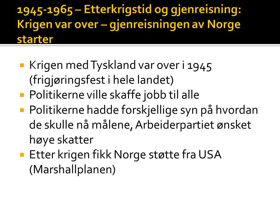  Stortingsvalget 1945, fikk arbeiderpartiet et flertall av representanter  Einar Gerhardsen ble statsminister  De hadde styringen i 20 år fremover (1945-1965)  Arbeiderpartiet hadde fem kjennetegn på måten de styrte på:  Sterk statlig styring, sosial utjevning, jobb til alle, offentlig helsevesen, gratis skole for alle.