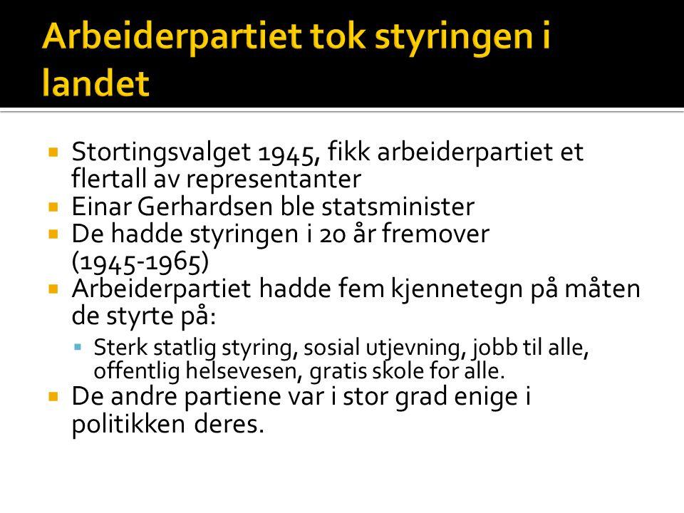  Stortingsvalget 1945, fikk arbeiderpartiet et flertall av representanter  Einar Gerhardsen ble statsminister  De hadde styringen i 20 år fremover