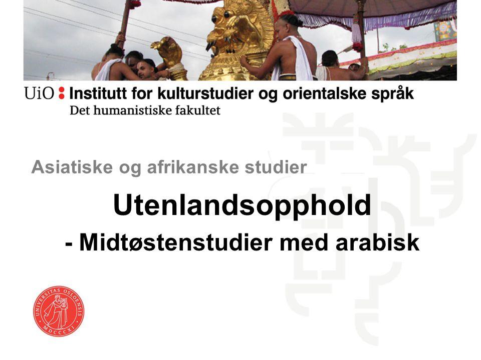 Utenlandsopphold - Midtøstenstudier med arabisk Asiatiske og afrikanske studier