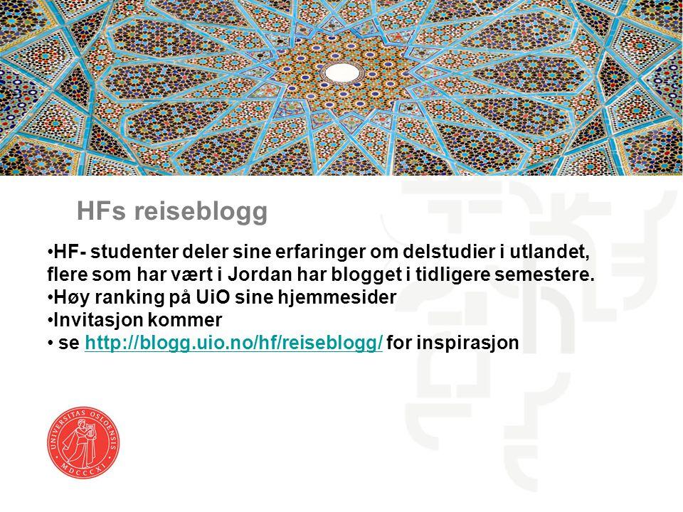 HFs reiseblogg HF- studenter deler sine erfaringer om delstudier i utlandet, flere som har vært i Jordan har blogget i tidligere semestere. Høy rankin