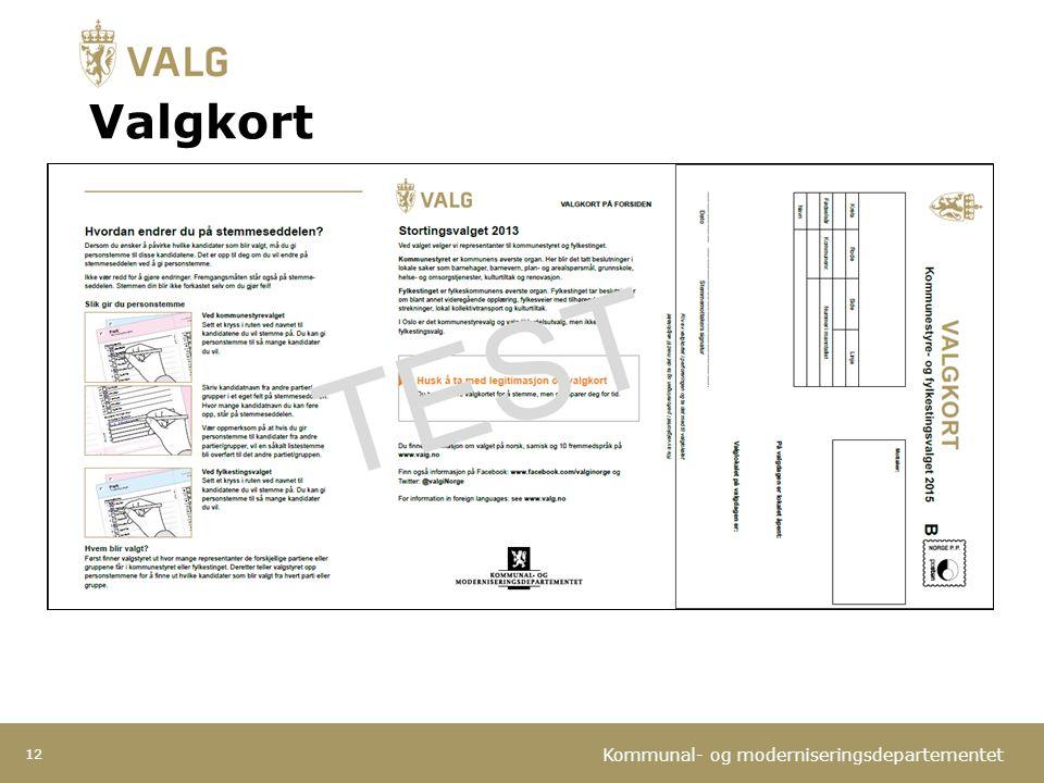 Kommunal- og moderniseringsdepartementet Valgkort 12