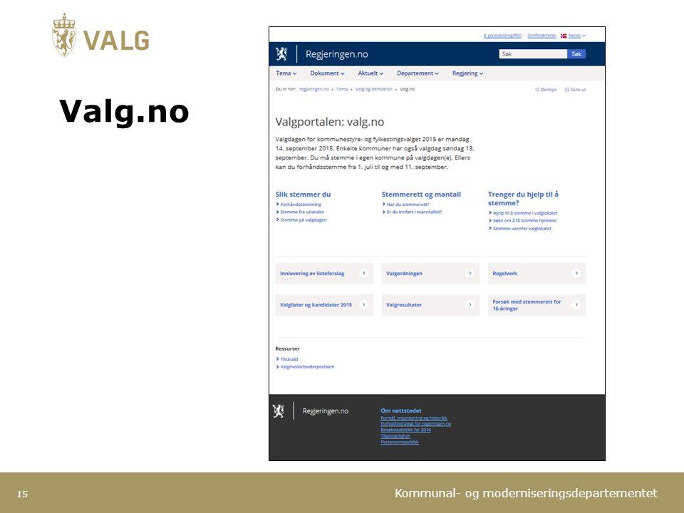Kommunal- og moderniseringsdepartementet 15 Valg.no
