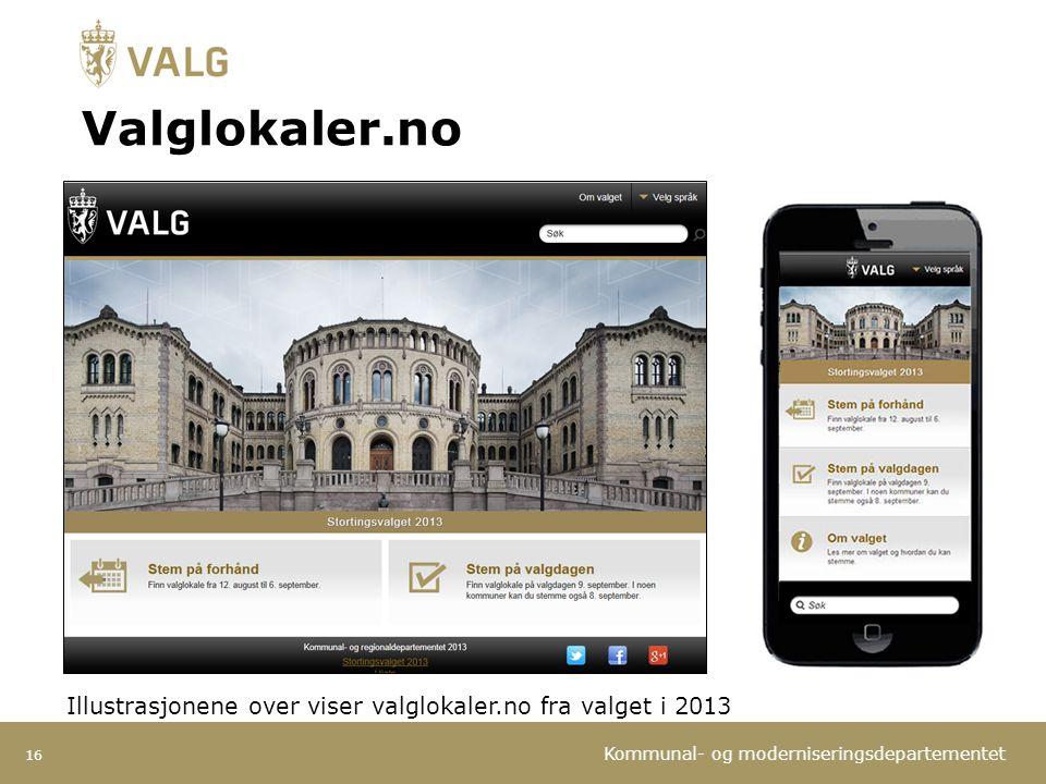 Kommunal- og moderniseringsdepartementet Valglokaler.no 16 Illustrasjonene over viser valglokaler.no fra valget i 2013