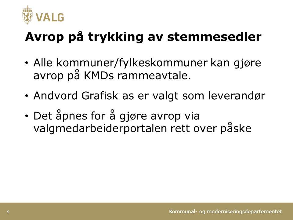 Kommunal- og moderniseringsdepartementet Avrop på trykking av stemmesedler Alle kommuner/fylkeskommuner kan gjøre avrop på KMDs rammeavtale. Andvord G
