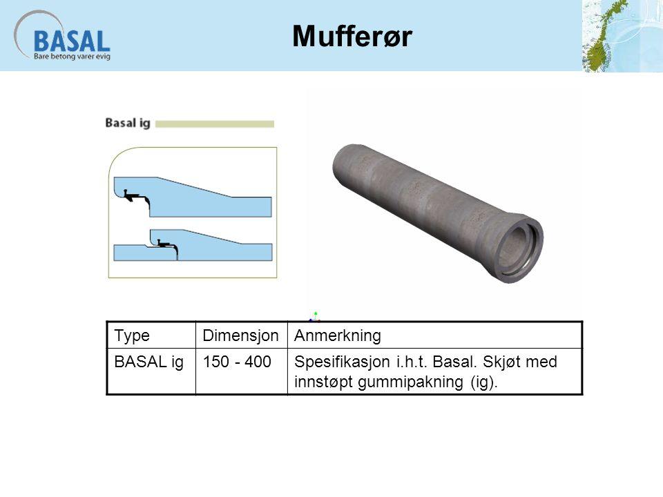 Mufferør TypeDimensjonAnmerkning BASAL ig150 - 400Spesifikasjon i.h.t.