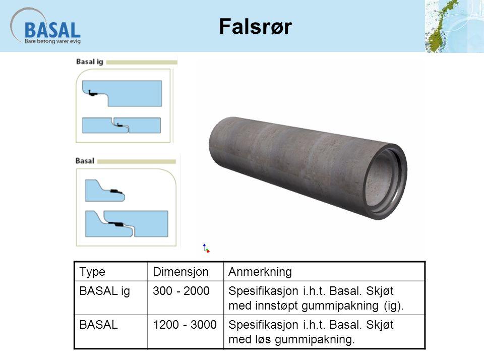 Falsrør TypeDimensjonAnmerkning BASAL ig300 - 2000Spesifikasjon i.h.t.